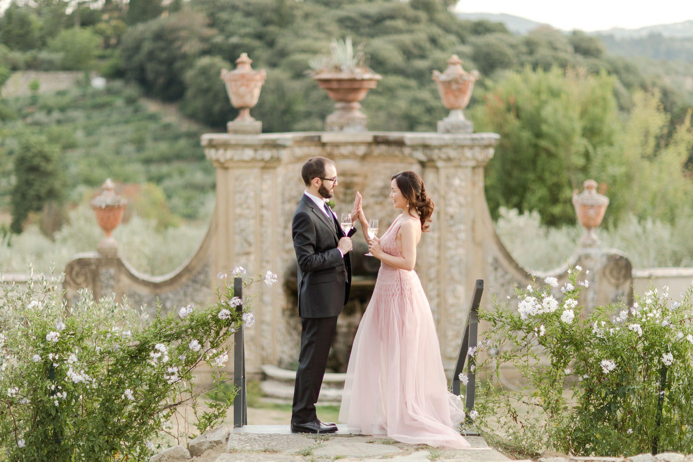 Wedding picture in Florence at Villa Medicea di Liliano
