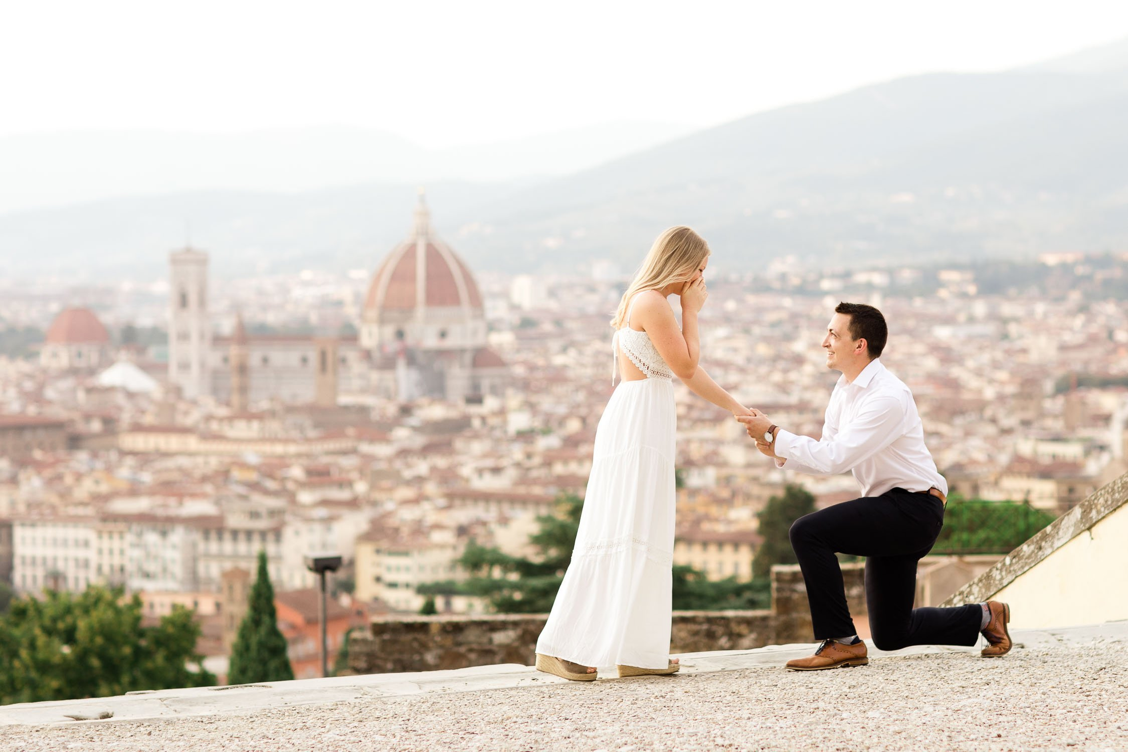 Surprise proposal picture at San Miniato al Monte - Piazzale Michelangelo Florence