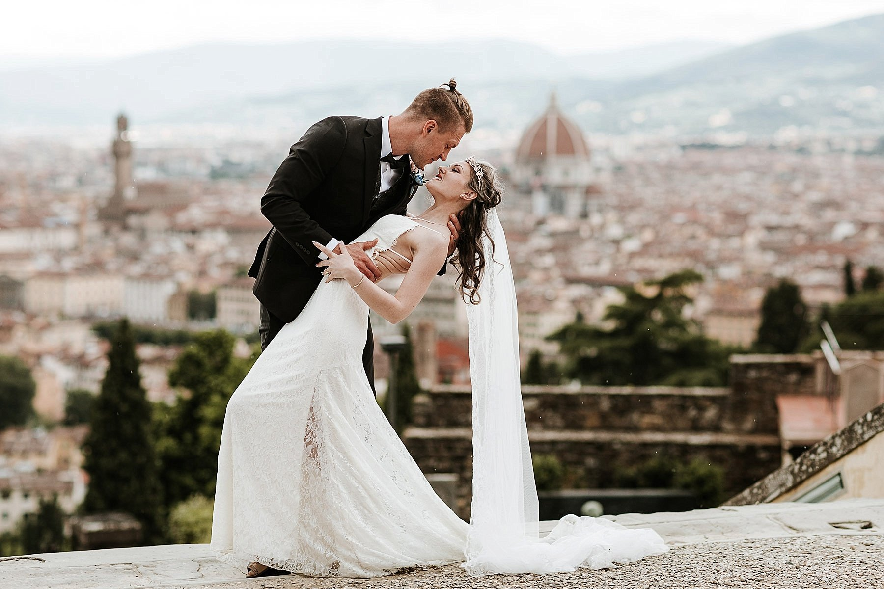 Bride and Groom picture in a fabulous scenario