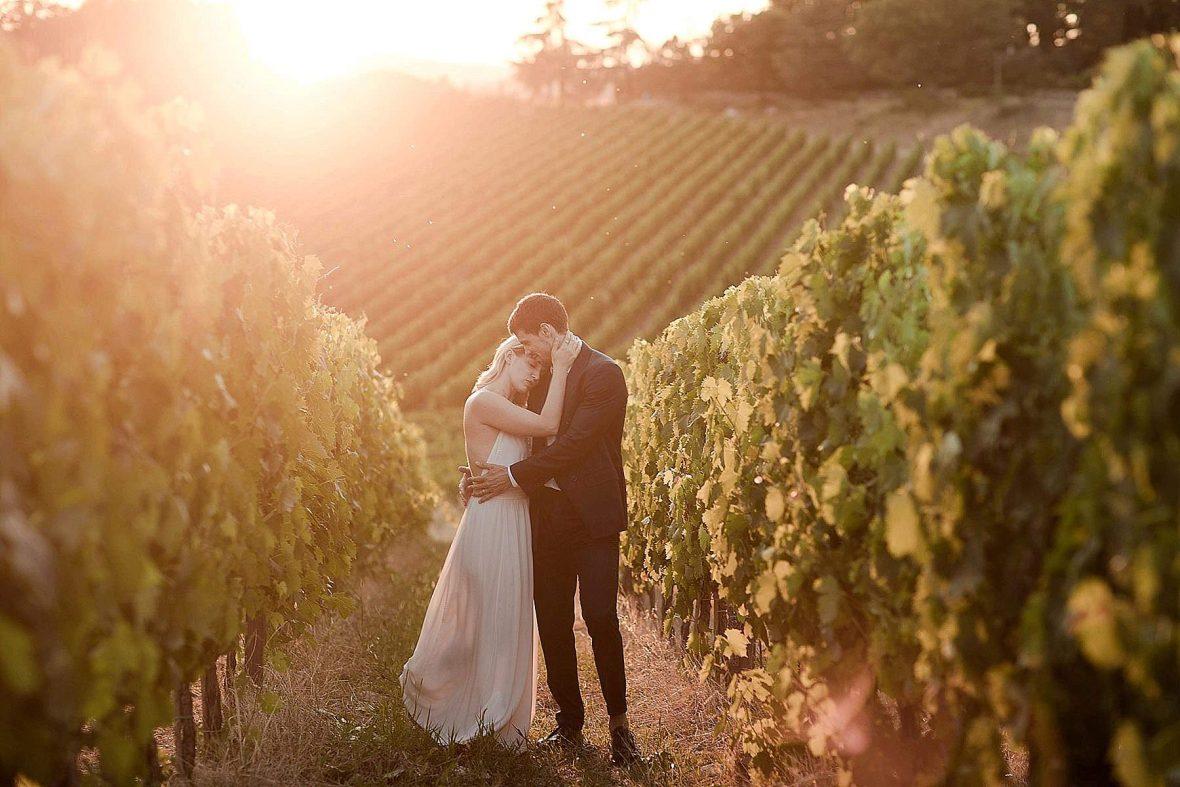 Honeymoon photography in the vineyards around Borgo San Felice
